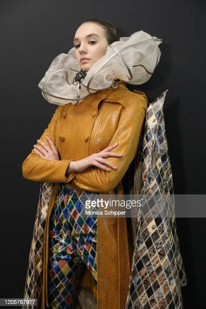 Model poses backstage for the Sheguang Hu fashion show during February 2020 - New York Fashion Week: The Shows on February 11, 2020 in New York City.