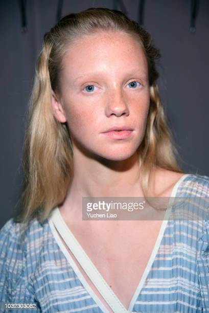 A model poses backstage for the Staud Presentation during New York Fashion Week The Shows at Laudree on September 12 2018 in New York City