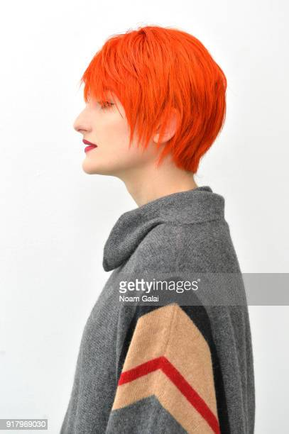 A model poses backstage for Zang Toi during New York Fashion Week The Shows at Pier 59 on February 13 2018 in New York City