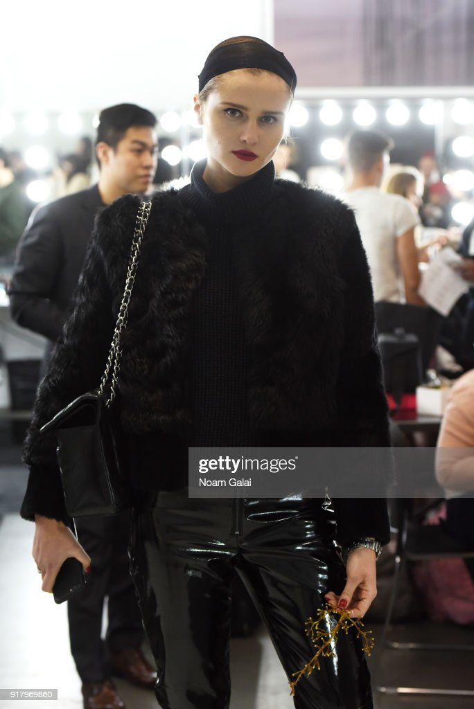 A model poses backstage for Zang Toi during New York Fashion Week: The Shows at Pier 59 on February 13, 2018 in New York City.