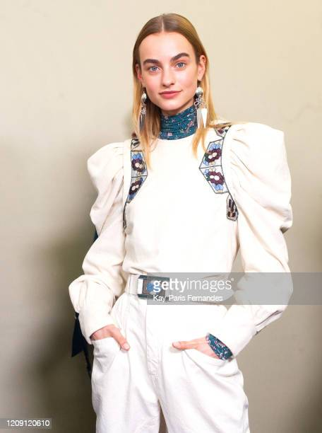 Model poses backstage in firstlooks before the Isabel Marant Womenswear Fall/Winter 2020/2021 show as part of Paris Fashion Week on February 27, 2020...