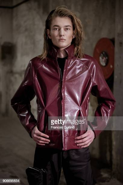A model poses Backstage prior the Angus Chiang Menswear Fall/Winter 20182019 show as part of Paris Fashion Week on January 18 2018 in Paris France