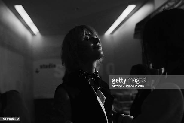 Model poses backstage prior the Ann Demeulemeester show as part of the Paris Fashion Week Womenswear Spring/Summer 2017 on September 29, 2016 in...