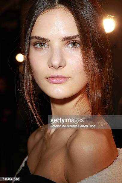 A model poses backstage prior the Boss Womenswear show as a part of Fall 2016 New York Fashion Week at on February 17 2016 in New York City