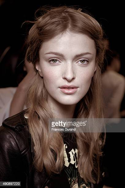 A Model poses backstage prior the Carven show as part of the Paris Fashion Week Womenswear Spring/Summer2016 on October 1 2015 in Paris France