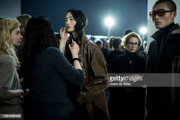 A model poses Backstage prior the Cerruti 1881 Menswear Fall/Winter 20192020 show as part of Paris Fashion Week on January 18 2019 in Paris France