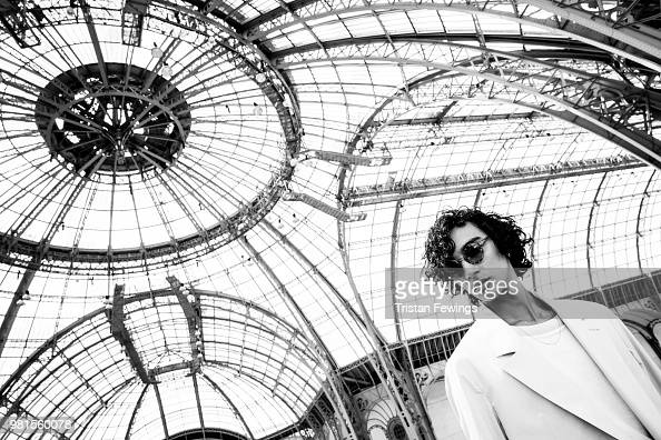 A model poses backstage prior the Cerruti 1881 Spring Summer 2019 show as part of Paris Fashion Week on June 22 2018 in Paris France