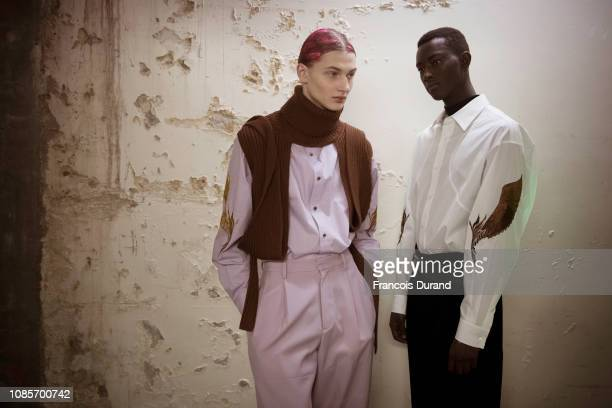 A model poses Backstage prior the Christian Dada Menswear Fall/Winter 20192020 show as part of Paris Fashion Week on January 20 2019 in Paris France