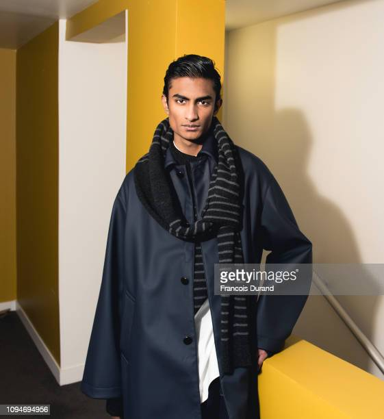 Model poses backstage prior the Fumito Ganryu Menswear Fall/Winter 2019-2020 show as part of Paris Fashion Week on January 15, 2019 in Paris, France.
