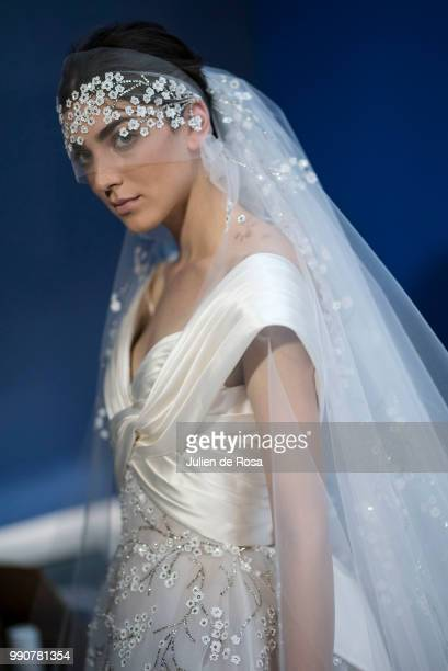 A model poses Backstage prior the Georges Chakra Haute Couture Fall Winter 2018/2019 show as part of Paris Fashion Week on July 3 2018 in Paris France