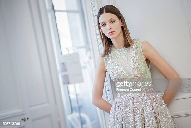 A model poses backstage prior the Georges Hobeika Haute Couture show Spring/Summer 2016 Fashion Show as part of Paris Fashion Week at Monnaie de...
