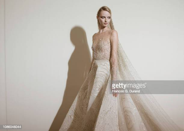 A model poses backstage prior the Georges Hobeika Spring Summer 2019 show as part of Paris Fashion Week on January 21 2019 in Paris France