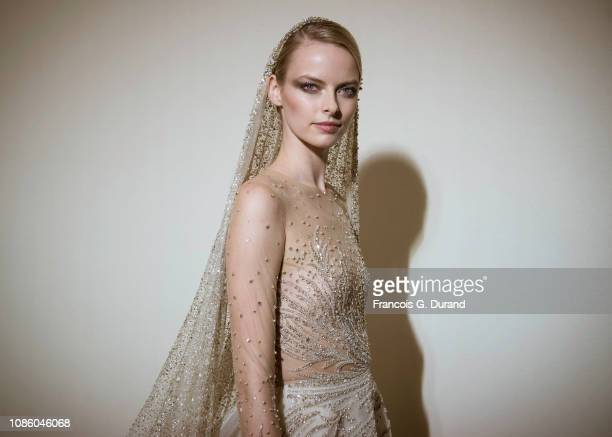 Model poses backstage prior the Georges Hobeika Spring Summer 2019 show as part of Paris Fashion Week on January 21, 2019 in Paris, France.