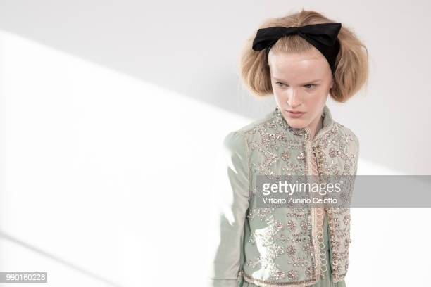 A model poses Backstage prior the Giambattista Valli Haute Couture Fall Winter 2018/2019 show as part of Paris Fashion Week on July 2 2018 in Paris...