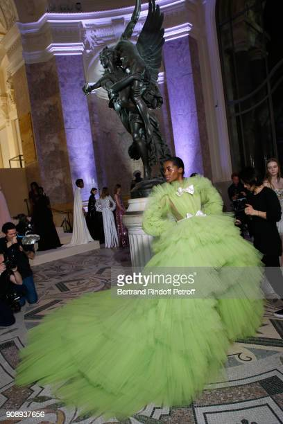 A model poses Backstage prior the Giambattista Valli Spring Summer 2018 show as part of Paris Fashion Week on January 22 2018 in Paris France