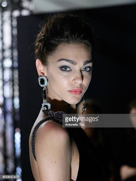 A model poses Backstage prior the Giorgio Armani Prive Haute Couture Fall/Winter 20162017 show as part of Paris Fashion Week on July 5 2016 in Paris...