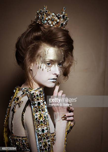 Model poses Backstage prior the Guo Pei Fashion Week on January 25, 2017 in Paris, France.