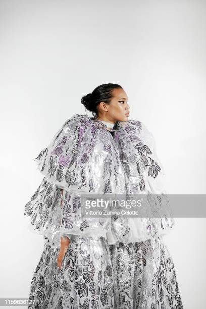 Model poses backstage prior the Maticevski Haute Couture Fall/Winter 2019 2020 show as part of Paris Fashion Week on July 02, 2019 in Paris, France.