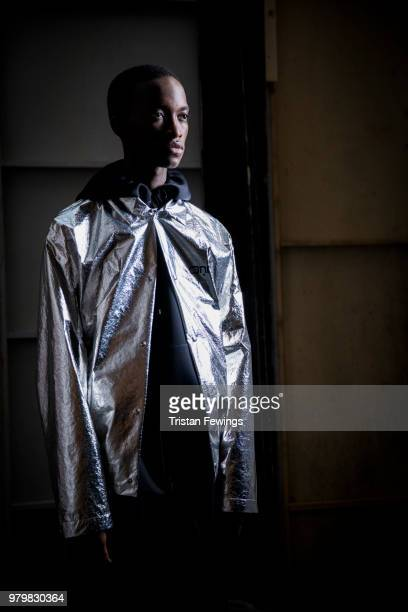 Models pose backstage prior the OAMC Menswear Spring Summer 2019 show as part of Paris Fashion Week on June 20 2018 in Paris France