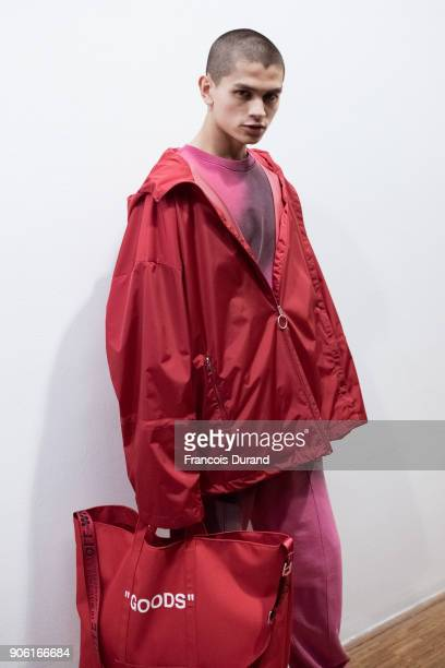 A model poses Backstage prior the Off/White Menswear Fall/Winter 20182019 show as part of Paris Fashion Week on January 17 2018 in Paris France