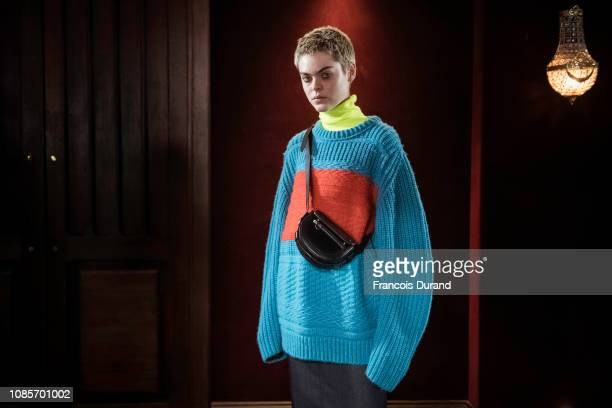 A model poses Backstage prior the Paul Smith Menswear Fall/Winter 20192020 show as part of Paris Fashion Week on January 20 2019 in Paris France