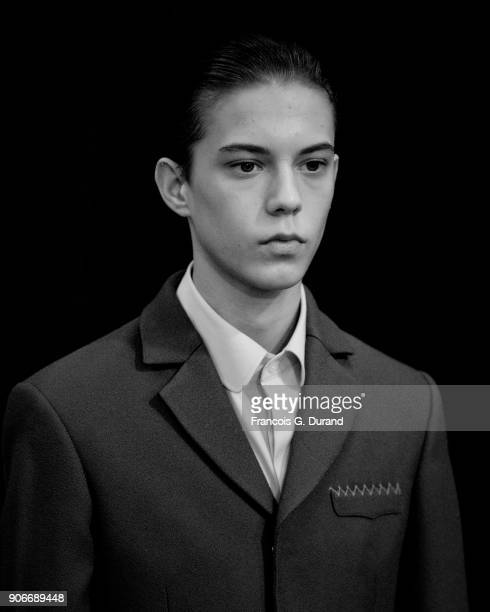 A model poses Backstage prior the Sean Suen Menswear Fall/Winter 20182019 show as part of Paris Fashion Week on January 18 2018 in Paris France