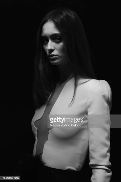 A model poses backstage prior the Stephane Rolland Haute Couture Fall/Winter 20172018 show as part of Haute Couture Paris Fashion Week on July 4 2017...