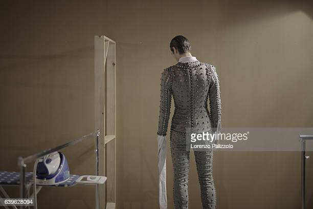 A model poses Backstage prior the Thom Browne Menswear Fall/Winter 20172018 show as part of Paris Fashion Week on January 22 2017 in Paris France
