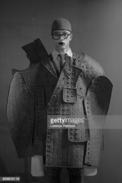 Image has been converted to black and white A model poses Backstage prior the Thom Browne Menswear Fall/Winter 20172018 show as part of Paris Fashion...