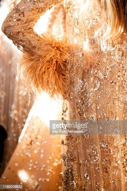 A model poses backstage prior the Zuhair Murad Haute Couture Fall/Winter 2019 2020 show as part of Paris Fashion Week on July 03 2019 in Paris France