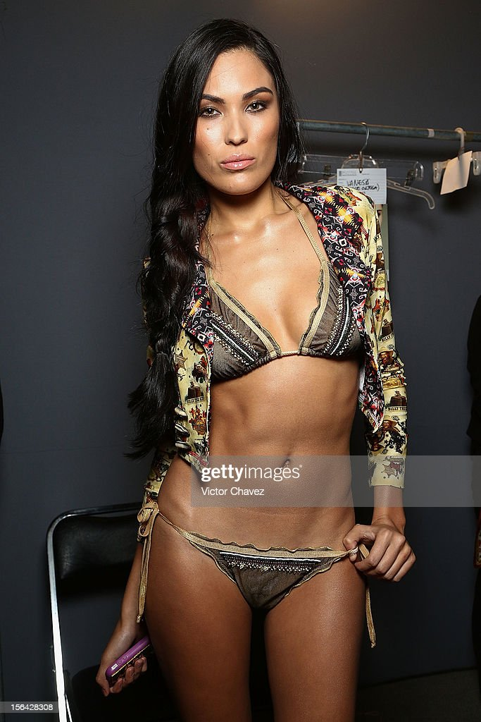 A model poses backstage prior to Agua Bendita runway during the third day of Mercedes-Benz Fashion Week Mexico Spring/Summer 2013 at Carpa Santa Fe on November 14, 2012 in Mexico City, Mexico.