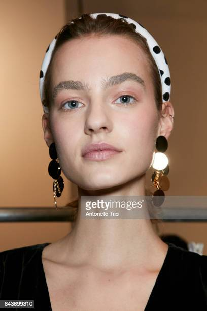 A model poses Backstage prior to the Altuzarra during New York Fashion Week on February 12 2017 in New York City