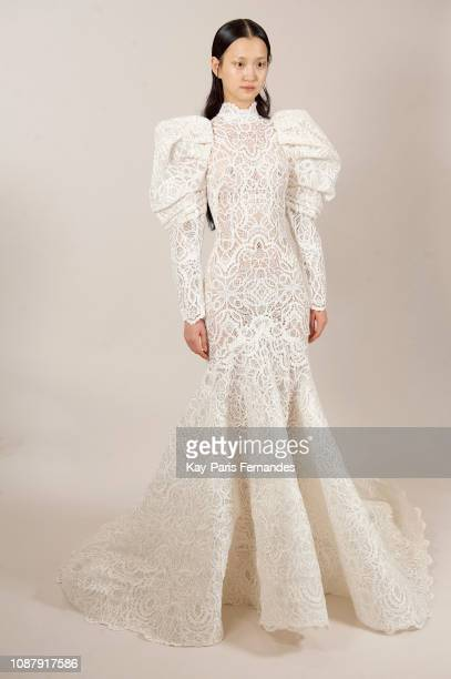 A model poses backstage prior to the Ashi Studio Spring Summer 2019 show as part of Paris Fashion Week on January 23 2019 in Paris France