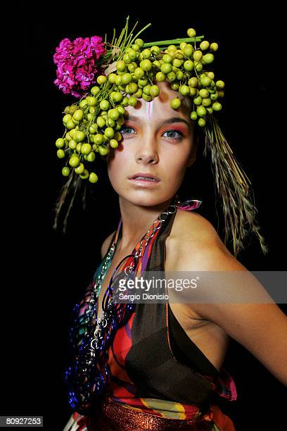 Model poses backstage prior to the Easton Pearson show on the third day of Rosemount Australian Fashion Week Spring/Summer 2008/09 Collections at the...
