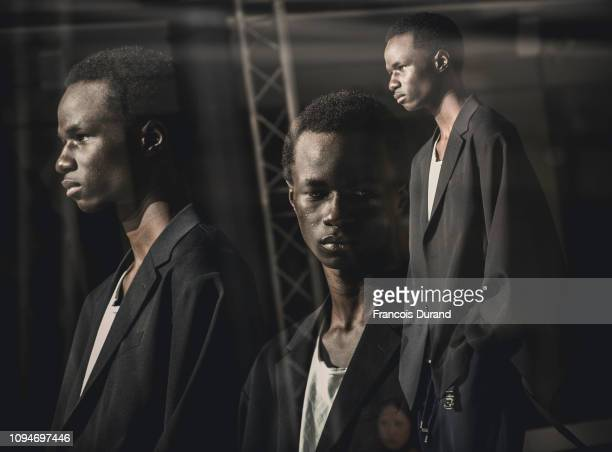 Model poses Backstage prior to the Fumito Ganryu Menswear Fall/Winter 2019-2020 show as part of Paris Fashion Week on January 15, 2019 in Paris,...