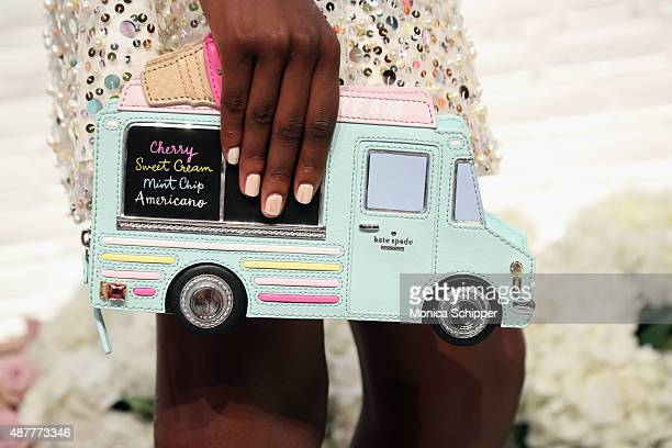 A model poses clutch detail at the Kate Spade New York presentation during Spring 2016 New York Fashion Week on September 11 2015 in New York City