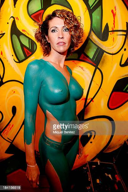 A model poses during a bodypainting session at the Barcelona Erotic Fair on October 11 2013 in Barcelona Spain