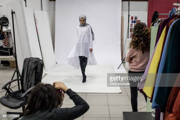 A model poses during a photo session for online modest clothing brand Modanisa on November 28 2017 in Istanbul Turkey Modest fashion and Halal...