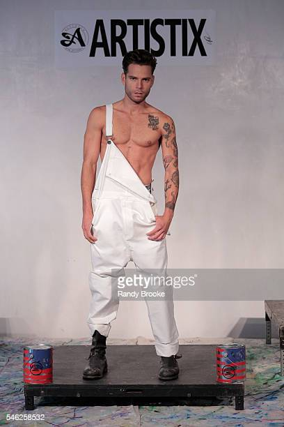 A model poses during Artistix With Andy Hilfiger Presentation at New York Fashion Week Men's S/S 2017 on July 11 2016 in New York City