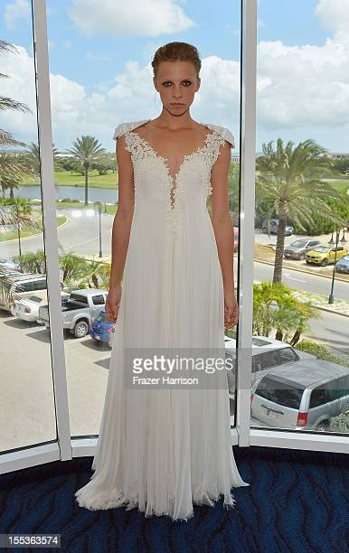 A model poses during Aruba In Style 2012 Wedding Champagne Brunch with Samuel Cirnansck at Windows on Aruba at Divi Links Golf Beach Resort on...