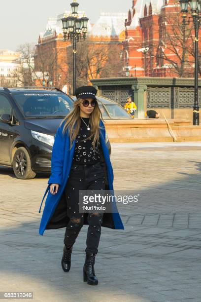 A model poses during Moscow MercedesBenz Fashion Week Fall/Winter 2017/18 in Moscow Russia on 14 March 2017