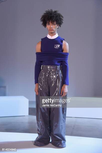 A model poses during Raun Larose Presentation NYFW Men's July 2017 at Cadillac House on July 13 2017 in New York City