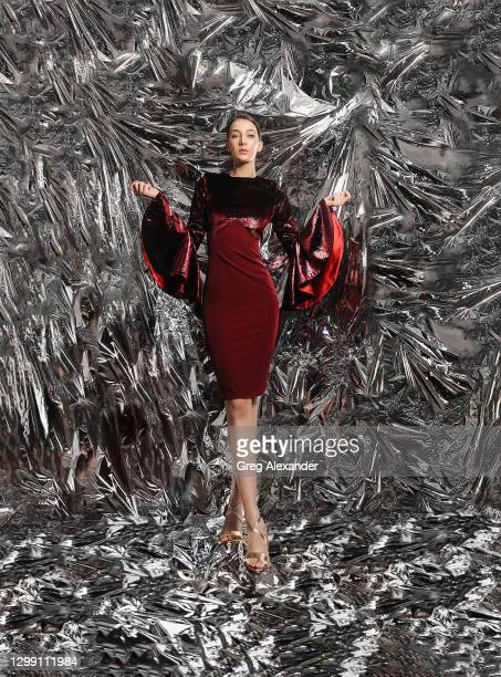 Model poses during Spiros Stefanoudakis Spring/Summer 2021 show as part of Paris Fashion Week on January 28, 2021 in Paris, France.