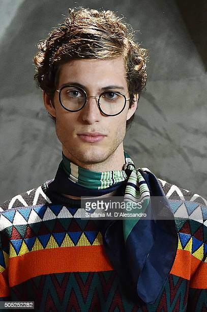 A model poses during Stella Jean Presentation as part of Milan Men's Fashion Week FW16 on January 16 2016 in Milan Italy
