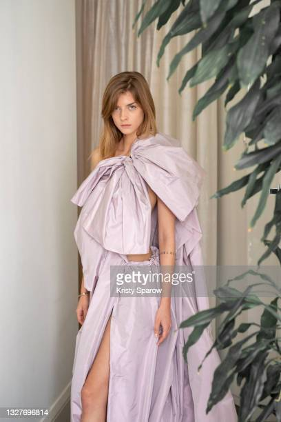 Model poses during the Aelis Haute Couture Fall/Winter 2021/2022 Presentation as part of Paris Fashion Week on July 08, 2021 in Paris, France.
