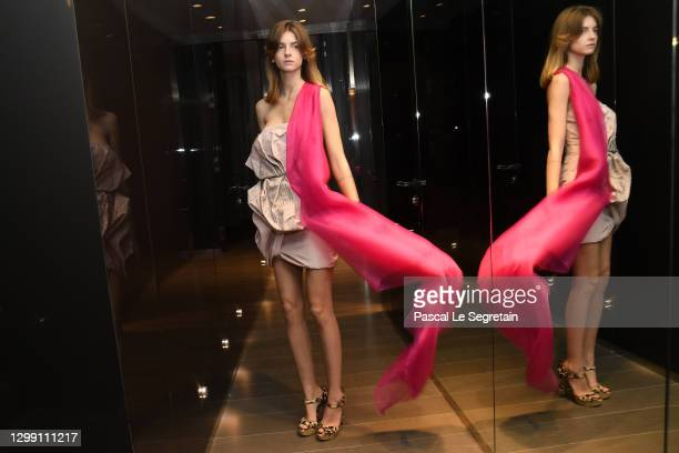 Model poses during the Aelis Spring/Summer 2021 presentation as part of Paris Fashion Week on January 28, 2021 in Paris, France.