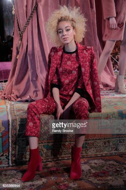 A model poses during the alice olivia by Stacey Bendet Fall 2017 Presentation at Highline Stages on February 14 2017 in New York City