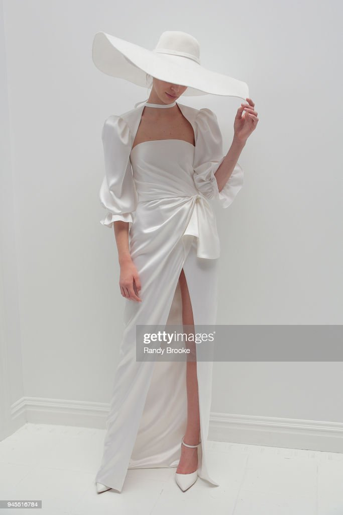 A model poses during the Alon Livne White Exhibition during New York Fashion Week: Bridal April 2018 on April 12, 2018 in New York City.