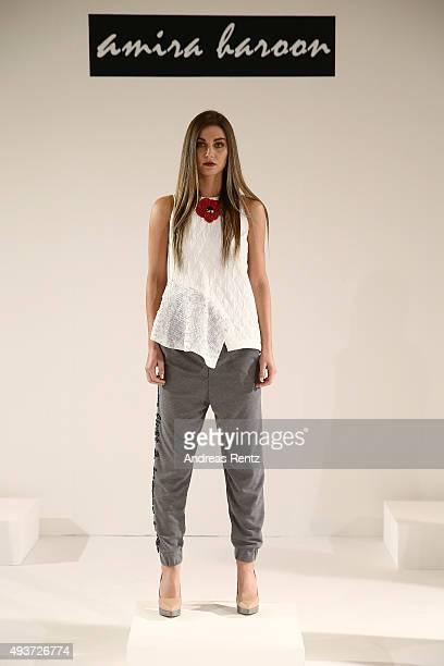 A model poses during the Amira Haroon presentation during Dubai Fashion Forward Spring/Summer 2016 at Madinat Jumeirah on October 22 2015 in Dubai...