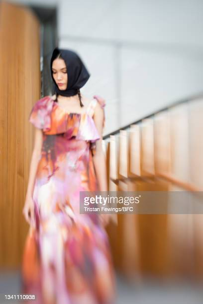 Model poses during the Anna Mason Presentation during London Fashion Week September 2021 on September 18, 2021 in London, England.